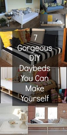 7 Gorgeous DIY Daybeds {You look like you could use a good place to curl up with. - DIY {You Can Do It} - Girls Furniture Projects, Home Projects, Diy Furniture, Diy Daybed, Daybed Ideas, Daybed Bedding, Life Hacks, Up House, My New Room