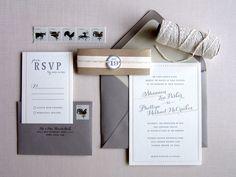 Shannon + Phillipe's Peach and Gray Brunch Wedding Invitations | Design and Photo Credit: Studio SloMo