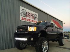 Black lifted GMC Sierra