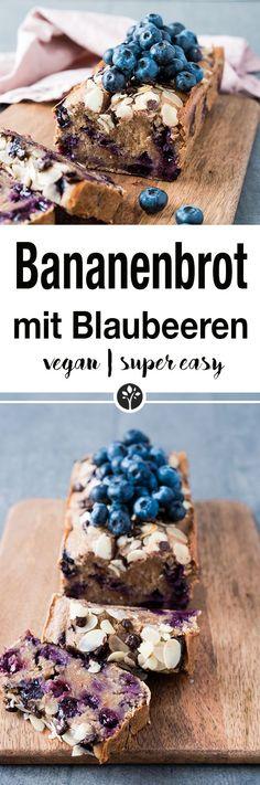 Bananenbrot mit Blaubeeren. www.eat-vegan.de //