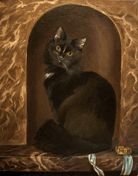 cat portrait in old master style, 40x50 cm, oil on canvas