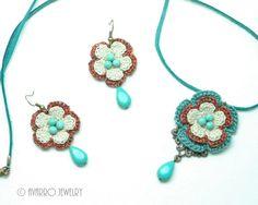 Turquoise Orange Ivory Natural Jewelry Set 100% by AvarroJewelry