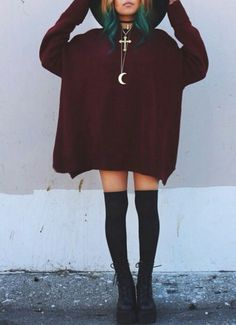 Moon charm + oversized sweater + knee socks