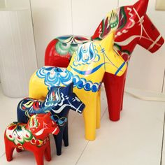 3 dala horses  Someone can't count! Been collecting these since I was a preschooler. Now my daughter has my collection.