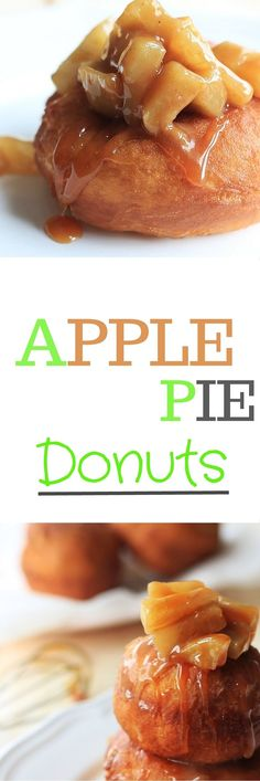 Apple pie donuts recipe with homemade salted caramel sauce | http://FlavoursandFrosting.com