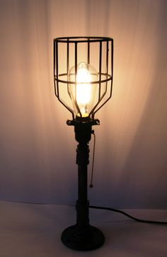 Wall lamp double vintage design industrial industrial light industrial chic steampunk cage light table lamp with antique edison bulb mozeypictures Image collections