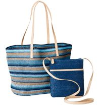 Riviera Goddess Bag Set This two bag set includes a large straw tote and a matching straw crossbody mini bag.