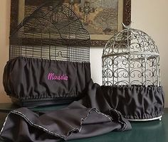 Handmade Charcoal Gray Fabric Bird Cage Seed Catcher Skirt Guard or Cover XS-XXL