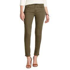 Petite Chaps 4-Way Stretch Straight-Leg Twill Pants, Women's, Size: 8P - Short, Brown