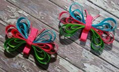 butterfly hair clip from ribbon scraps