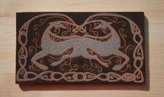 """Celtic Greyhounds""by Malens Ceramics.  Ceramic tile, sgraffito (980ºC). Dogs Art."
