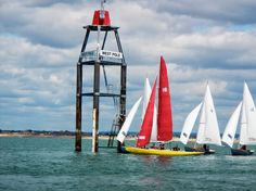 Redwing 18 Harlequin mixes with the BOD's at West Pole at the entrance to Chichester Harbour. Chichester, Entrance, Sailing, June, Candle, Entryway, Door Entry