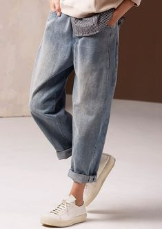 Vintage Casual Blue Cowboy Pants Women Spring Jeans - How To Be Trendy Fashion Casual, Look Fashion, Trendy Fashion, Vintage Fashion, Fashion Outfits, Womens Fashion, Fashion Clothes, Style Clothes, Casual Wear