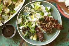 Beef Satays with Charred Asian Vegetables - Coles Recipes & Cooking Cooking For A Crowd, Cooking Tips, Cooking Recipes, Healthy Nachos, Avocado Rice, Beef Satay, Asian Vegetables, Quick Easy Meals, Vegetable Recipes
