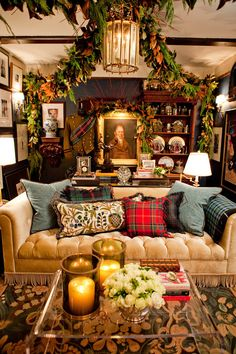ok.  maybe over the top.  but i love me some of this tartan/tweed/englishy club cr&p.  throw in some worn leather club chairs and bring me a cocktail.