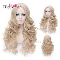 High Quality Cosplay Blonde Curly Wig 70cm Synthetic Hair Long Curly Wavy Blonde Cosplay Wig Heat Resistant Wigs,High Quality wig,China wig ring Suppliers, Cheap wig gold from Black Pretty Hair