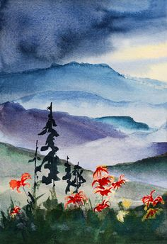 Watercolor painting of the Great Smoky Mountains.