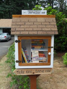 Faye and Andy Lengenfelder. Renton, WA. We both love books and we volunteered for two years in the Reading Buddy program at Briarwood Elementary. We found the 2nd graders to be eager to read. So we set up this Little Free Library in hopes that it would encourage more reading among both kids and adults. We patterned it after the colors and finish of our house.