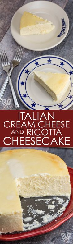 This super rich, creamy, tangy, no frills, crustless Italian-style cheesecake is easier than you'd think to prepare at home. #cheesecake #desserts
