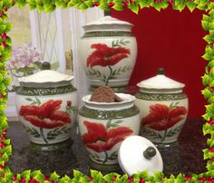 Tuscany Floral Poppy, Hand Painted Ceramic Canister, Set of 84701 by ACK Product Features When you add these Poppy Abundance Hand Painted Canisters to your Kitchen, good cheer and pretty color are always in bloom! Ceramic Canister Set, Kitchen Canister Sets, Ceramic Jars, Storage Containers For Sale, Ceramic Poppies, Turquoise Kitchen, Hand Painted Ceramics, Ceramic Painting, Poppy