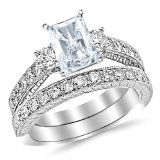 2.03 Carat Classic Channel Set Wedding Set Bridal Band & Diamond Engagement Ring with a 1 Carat Radiant Cut J Color VS2 Clarity Center Stone