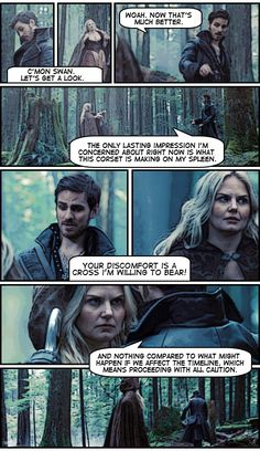 *giggle* There is no confusion about where he's looking. Killian Jones (Colin O'Donoghue) and Emma (Jennifer Morrison) Episode 3.21 Snow Drifts #OUAT #CaptainSwan