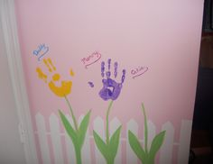 Putting mom's, dad's and baby's handprints on the wall can make for a great keepsake. Submitted by Denise77