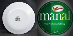 Original Trade Mark of Manal Opal Ware. U.A.E, Printed @ Bottom of at all Manal Products with signs of Microwave Safe, Dish Washer Safe and Shock Resistant.   Al Manal Centre. (Distribution) 112. First Floor. Khaleej Tower 38 Jail Road. Lahore Landline: (042) 3742 8169 Tel. 0332 0291970 / 0332 4129417 Email ahmadkhayam@gmail.com