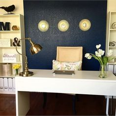 Our #adoredecor post of the day goes to @chicandaffordable's GORGEOUS office!