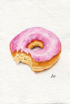 Pink glazed donut #2 - Miniature Painting (Still Life, Kitchen Wall Art, Watercolour Food Illustration)