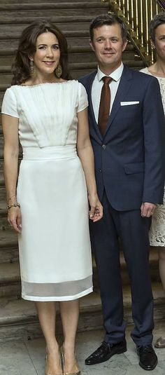 DAVID ANDERSEN dress: Now 2015 & Then April 24, 2014. Prince Frederik and Crown Princess Mary host a dinner for Copenhagen Fashion Summit 2014 in Frederik VIII's Palace, Amalienborg.