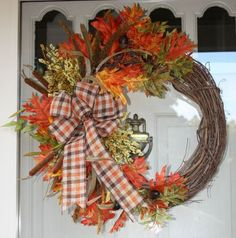 """It's finally fall! I'm sharing two fall wreaths that are on two of my exterior doors. Today is wreath day for the """"Fall Ideas Tour"""". Visit to be inspired."""