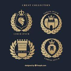 Escudos heráldicos elegantes, com coroa de louros