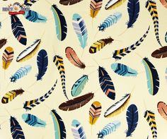 Iroquois Feather Sand Cotton Fabric, Alexander Henry