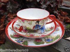 Antique Japanese Kutani Porcelain Ware Tea Cup Saucer Side Plate ...
