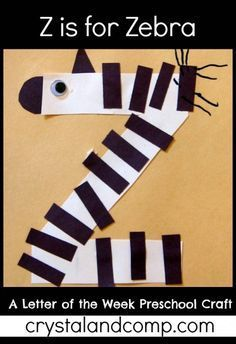letter of the week preschool crafts: z is for zebra - entire alphabet, also letter of the week snacks from a-o Preschool Letter Crafts, Preschool Projects, Alphabet Crafts, Daycare Crafts, Preschool Activities, Toddler Crafts, Preschool Zoo Theme, Alphabet Letters, Letter Art