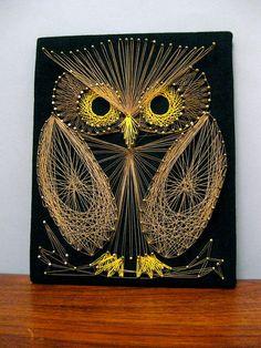 Retro triple combo! String art owl on black velvet! Now that's what I call a time machine.