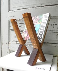 Modern Magazine Rack. Reclaimed Wine Barrel. French Oak