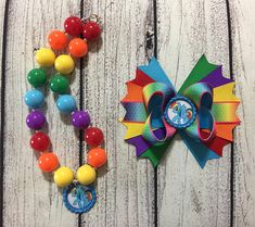 My Little Pony Rainbow Dash Hair Bow and Necklace SET, My Little Pony Rainbow Dash Bubblegum Necklace,My Little Pony Rainbow Dash Outfit Rainbow Dash Birthday, Thing 1, Matching Necklaces, Grosgrain Ribbon, My Little Pony, Necklace Set, Hair Bows, Inspired, Beads
