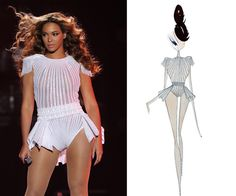 """Sketch of Beyonce's costume from The Mrs. Carter Show World Tour - Thanks """"B"""" no nipple tassels needed!!!"""