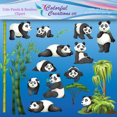 20 % OFF SALE Panda and Bamboo Digital Clipart, Panda bear images, Bamboo designs, printable, instsnd download, Personal - Commercial Use Yoda Images, Bear Images, Bamboo Design, Cute Panda, Photoshop Elements, Panda Bear, School Projects, Classroom Decor, Cool Things To Make
