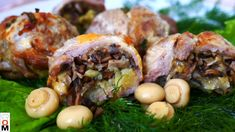 Stuffed Meat with Mushrooms and Cheese Pickling Cucumbers, Baked Pork, Pickles, Stuffed Mushrooms, Appetizers, Potatoes, Beef, Cheese, Meals