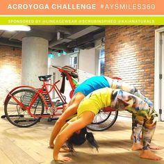 Day 3/5 of the #AYSmiles360 Challenge is Wheel Pose. Wheel has been a nemesis pose for me (Diana) because of my lack of shoulder mobility. After much time and patience it's slowly improving but there's still room to grow. That's part of what we love about acro and yoga - it's more about the journey and honoring where your body is than the asana itself. Here we are attempting to do a human version of a double rainbow.  We are loving the creativity of everyone's posts!! Thank you all for…