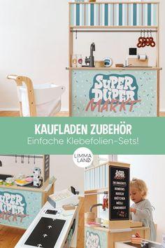 Wir haben in unserem Shop mehr als 5 Ideen und sehr viel Zubehör-Ideen  für einen schönen Kaufladen für Kinder. Es funktioniert ganz einfach mit  der IKEA DUKTIG Kinderküche: du beklebst einfach die Rückseite mit  einem unserer Klebefolien-Sets und schon hast du einen Kaufladen für  Kleinkinder. www.limmaland.com #kaufladen #ikeahacks #duktig #limmaland  #kinderzimmer Ikea Lack Tv Bank, Ikea Duktig, Desk, Cabinet, Storage, Freebies, Ikea Hacks, Furniture, Home Decor