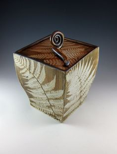 Ceramic Box / Ceramic Urn / Ceramic Box with Lid / Woodland Fern / Handmade by Sue Capillo - 680