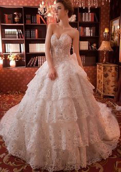 Cheap Customized Luxury Sweetheart Crystal Beaded Lace Up Back Sequin Multi Layer Skirt Ball Gown Wedding Dresses With Long Tail Free Measurement