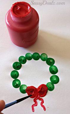 Cute Fingerprint Christmas Wreath Craft For Kids - Crafty Morning