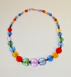 """CAT'S .99 AUCTIONS!  SUNDAY THROUGH WEDNESDAY 8PM-10PM CST!! https://www.facebook.com/AColourfulPast  Vintage Multi Jewel Tone Colored Lucite Bead Necklace 18""""   eBay"""