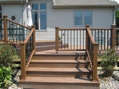 Deck railing isn't just a security feature. It can add a sensational aesthetic to frame a decked location or patio. These 36 deck railing ideas show you exactly how it's done! Porch Gate, Deck Gate, Deck Steps, Deck Railings, Gates And Railings, Stair Gate, Front Porch, Cool Deck, Diy Deck