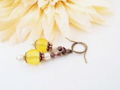 Sunshine Yellow Seaglass Dangle Earrings Copper by chicagolandia